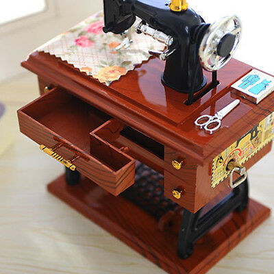 Vintage Music Box Mini Sewing Machine Style Party Birthday Gift Home Table Decor