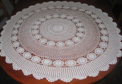 Vintage Crocheted Lace Tablecloth ~ Cotton ~ Off White ~ Round