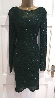 PHASE EIGHT New Sparkly Dark Green Knitted Bodycon Party Evening Dress SZ 8 - 18