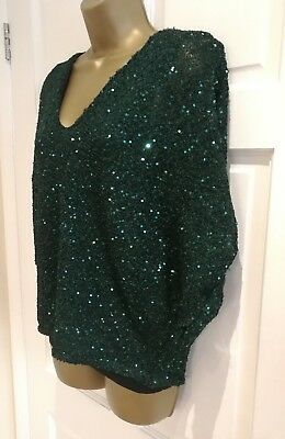 PHASE EIGHT New Sparkly Dark Green Knitted Batwing Party Evening Top Size 8 - 18