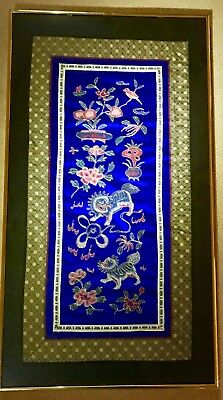 Chinese silk embroidery in blue colour 415x755mm with design of unicorn, flowers