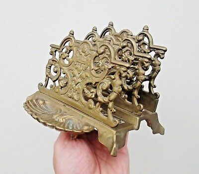 Large Old Ornate Brass Letter Rack With Stamp Tray - Rococo Style - Beautiful