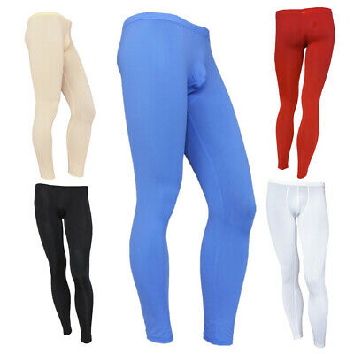 Men See-though Long Johns Tights Sheer Trousers Bulge Pouch Pants Underwear Sexy