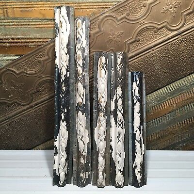 "5pc Lot of 34""- by 4"" Antique Ceiling Tin Vintage Reclaimed Salvage Art Craft"