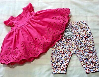 BUNDLE Baby Girl Mothercare New Baby Pink Dress & NEW TU 0 – 3 Mths Trousers