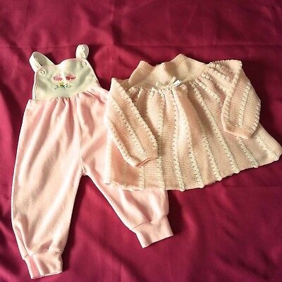Vintage Baby Clothes 3 Mths Pink Knitted Dress & Towelling Dungaree Set