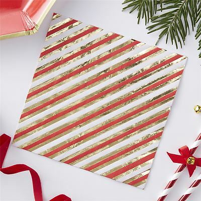 05a98490e04f Ginger Ray Candy Stripe Foiled 20 Napkins Serviettes Partyware Christmas  Xmas