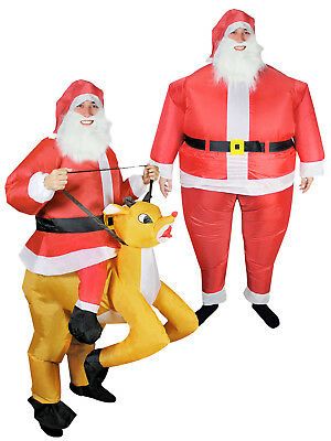 Inflatable Santa Reindeer Ride On Funny Mens Christmas Xmas Fancy Dress Costume