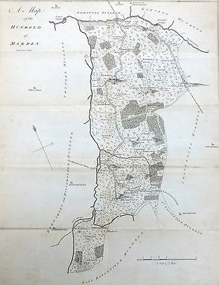 KENT, 1797 - ORIGINAL ANTIQUE MAP of Hundred of MARDEN & STAPLEHURST - E HASTED.