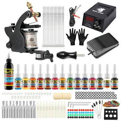 Complete Tattoo Kits 2 machine Guns Power Supply Needle Grips Tip Ink Set TKB09