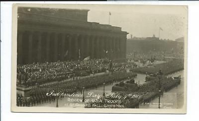 Liverpool England RPPC Postcard Military Review of U.S. Troops St. Georges Hall