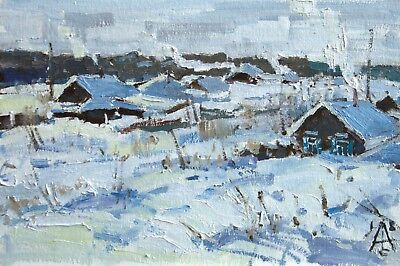 winter in the village snow landscape by artist Original RUSSIAN oil Painting