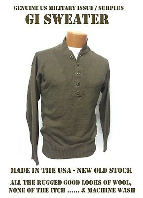 c8794ae0ae New Us Military Wool Style Acrylic Gi Jeep Sweater 5-Button Od Brown Usgi  Mens