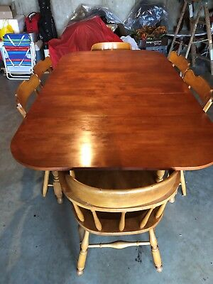Dining room table and 6 chairs, Statton vintage maple, #744 out of 1184 total