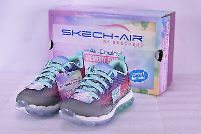 56a46a57cd22 YOUTH GIRL S SKECHERS Skech-Air Jump Around Tennis Shoes Gray Multi