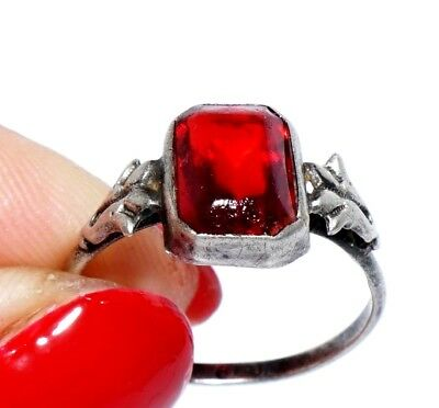 Antique Art Deco Faceted Ruby Red Glass Silver 800 Ring 8 P Russian