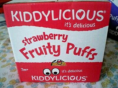 Brand New 'Kiddylicious Fruity Puffs' 6 x 10 g Bags Box