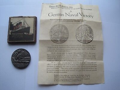 Ww1 Lusitania Medal,boxed With Rare Leaflet,excellent Condition