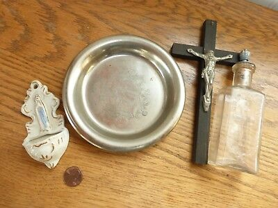 Vintage antique embossed Holy Water bottle cork stopper plate cross crucifix