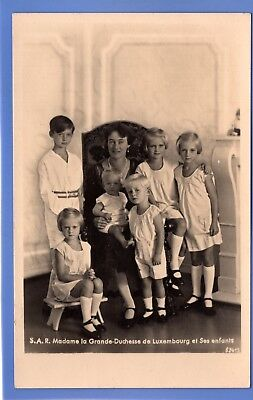 Old Rp Postcard Madame La Grande-Duchess Of Luxembourg And Children Royalty