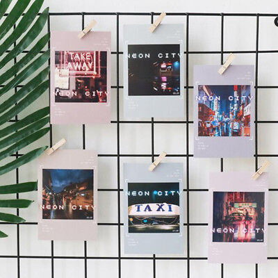 30 Sheets City Neon Print Postcard Birthday Letter Greeting Card Envelope Gift L