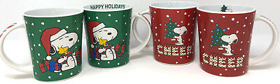 (4) Peanuts Stonewear Snoopy Christmas Mugs Red Cheer & Green Happy Holidays