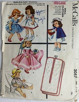 """Vtg 1956 McCall's Pattern 2057 Diminutive Doll Clothes 7""""-8"""" Red Cross Nurse"""