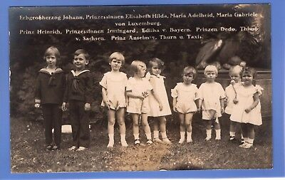 Old Vintage Rp Postcard Princes & Princesses Of Luxembourg Royalty Children