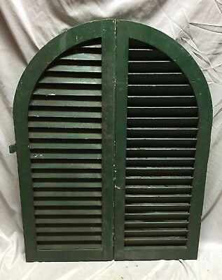 Antique Pair Arched Dome Top Wood Louvered Window Shutters 14X36 Old Vtg 564-18C