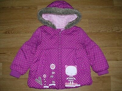 TU Girls Purple Pink Fleece Lined Quilted Hooded Jacket Coat Age 18-24m