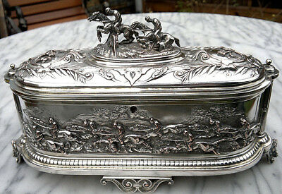Antique 19thC French Empire Horse Racing Léopold OUDRY Casket Jewellery Box 12""