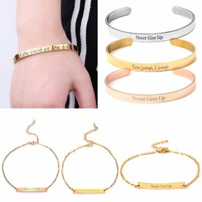 Fashion Stainless Steel Cuff Bangle Letter Bracelet Gift Family Love Jewelry