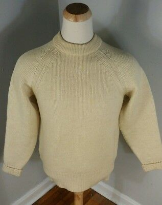 Vintage 60s Terramar Thick Heavy Worsted Wool Hunting Fishing Sweater L Snow
