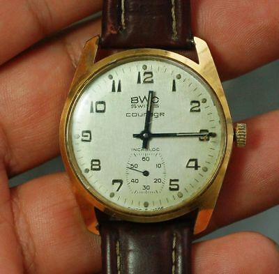 Vintage Swiss made watch BWC Courage cal.Unitas 6325 17 jewels working condition
