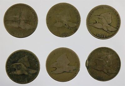 Six United States Flying Eagle Coins Three each of 1857 & 1858