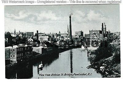 Circa 1905 ~ View from Division St. Bridge, Pawtucket, RI