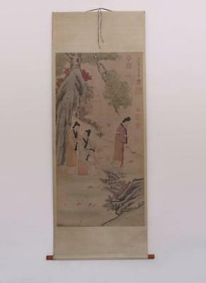 Very Rare Chinese Hand Painting Lady Scroll Zhao Ji (388)