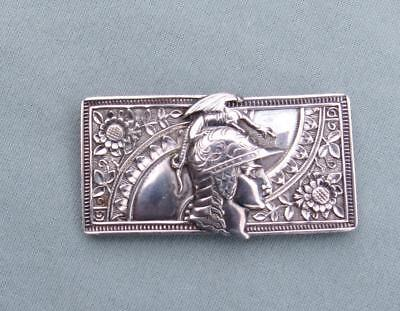 Antique Sterling Silver Belt Buckle With Roman Warrior Head