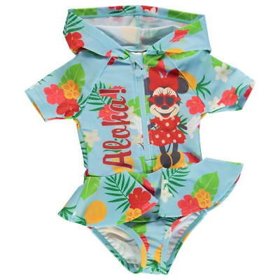 Disney Official Minnie Mouse Baby Girls Blue 'Aloha!' Hooded Swim Suit - BNWT