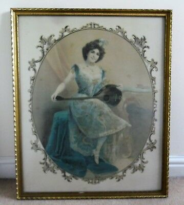Large Vintage Silk Picture Beautiful Lady With Lute Glazed And Framed