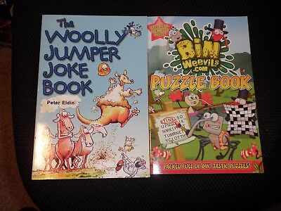 """the Wooly Jumper Joke Book+ Bin Weavils Puzzle Book"" Brand New"