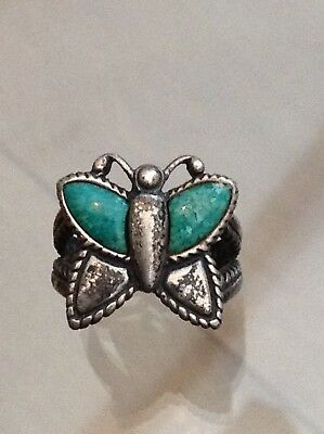 Silver Old Turquoise Butterfly Ring Excellent  (L)