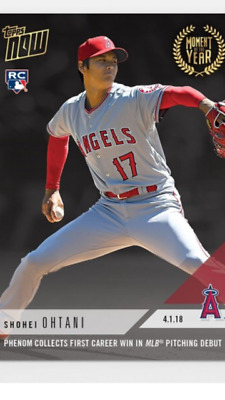 2018 TOPPS NOW CARD MOMENT OF THE YEAR #3 ANGELS SHOHEI OHTANI 1st CAREER WIN