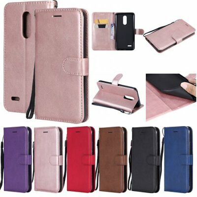 For LG Phone case flip wallet retro stand cover card holder solid color Luxury