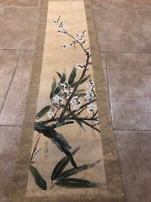 Antique Japanese Scroll - Painted Signed Cherry Blossoms