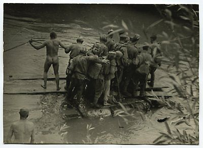 Wwii Large Size Press Photo: Russian Soldiers Wading River On Raft, October 1944