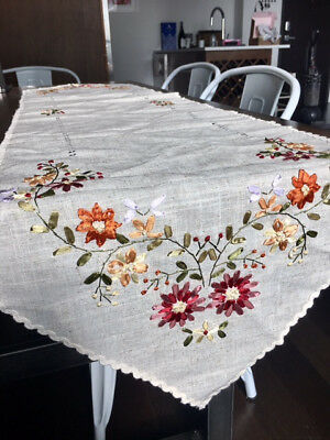 Handmade Linen Table Runner with Floral Embroidery from Santorini, Greece, NEW