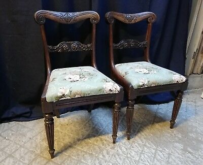 PAIR OF BEAUTIFUL MAHOGANY CARVED ANTIQUE CHAIRS WITH COVERED SEATS ref M1213
