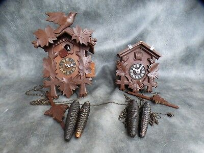 Two Complete German Cuckoo Clocks For Restore