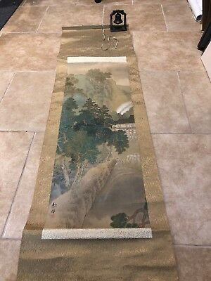 Antique Japanese Scroll - Painted Mountainside Village Trees Signed